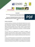 Comunicado en Respuesta Al Informe de La FAO Sobre Alimentacion en Venezuela