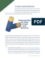 Understanding the Types of Lead-Acid Batteries