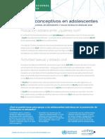 Uso de Anticonceptivos en Adolescentes en Bolivia
