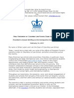 Columbia Law School Dean Lester Oral Statement on Immigration Executive Order