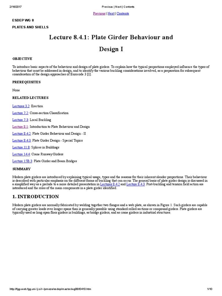 plate girder 8 4 1 | Buckling | Truss