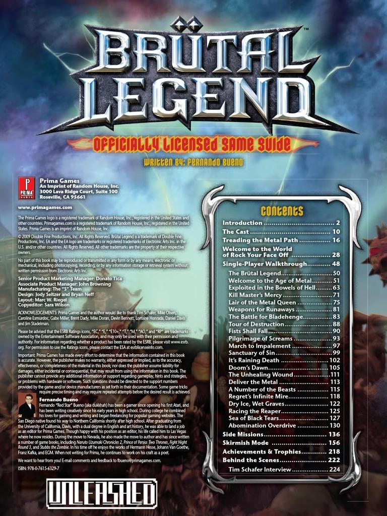 Brutal Legend (Official Prima Guide) | Leisure ...