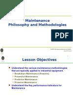 Maintenance Philosophy and Methodologies