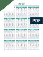Calendario 2017 en Excel