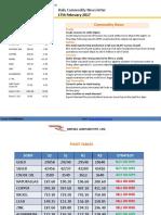 Ripples Advisory Daily Commodity Report 17-Feb 2017