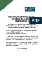 Grupo de Estudio Dirigido Análisis Matemático II