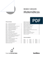 Indice Refuerzo y Ampliación 1º Matemáticas