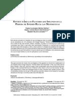Estudio sobre los Factores que Influyen en la Pérdida de Interés Hacia las Matemáticas Fabián Leonardo Muñoz Muñoz, María Janeth Bravo Montenegro, Hilbert Blanco Álvarez