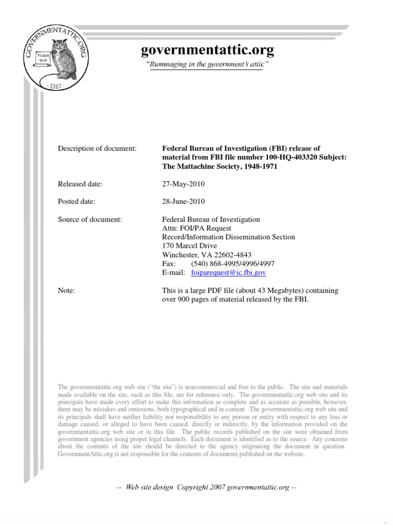 FBI-MattachineSociety_1948-1971 | Classified Information | Freedom ...