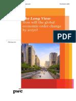 'El Mundo en 2050. ¿Cómo cambiará el orden económico mundial?'.