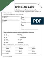Féminin Des Noms Ce2 Exercices à Imprimer