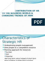 Strategic Contribution of Hr to the Business World