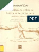 Kant, Immanuel. La polémica sobre la 'Critica de la razón pura' (trad. Caimi) Ed. Machado Libros.pdf