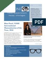 VOSH ONE Newsletter 2016-2017