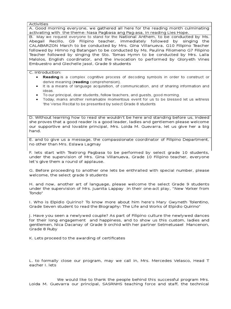 Script for Reading Month | Lectura (Proceso) | Enseñanza y