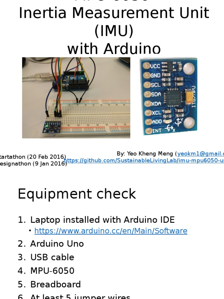 Mpu6050 Slides | Arduino | Manufactured Goods