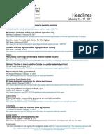 CCA Headlines February 13 - 17 2017