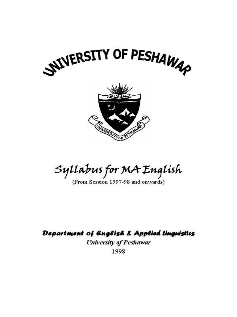 Syllabus for MA English: Department of English & Applied