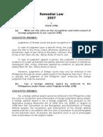 2007 Remedial Law Bar Questions