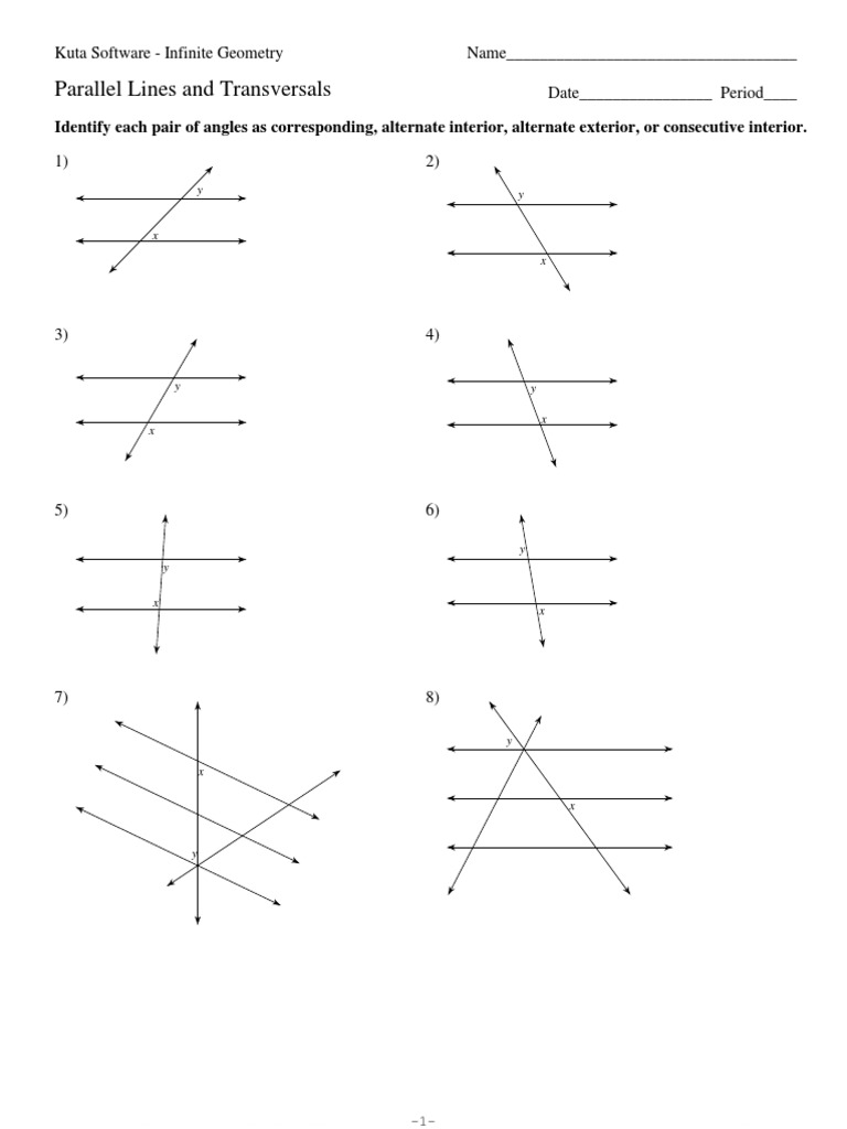 3Parallel Lines and Transversalspdf Elementary Geometry – Parallel Lines and Transversals Worksheet