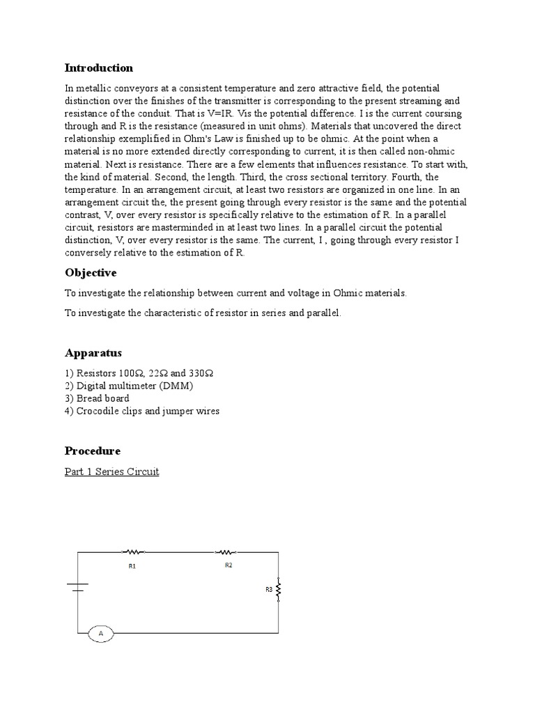 Assignment  Ohms Law