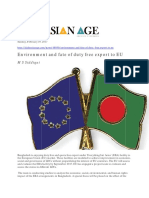 Environment and Fate of Duty Free Export to EU