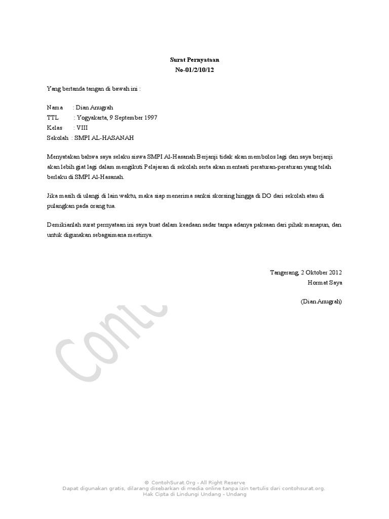 Contoh surat pernyataan tidak membolos sekolah altavistaventures Choice Image