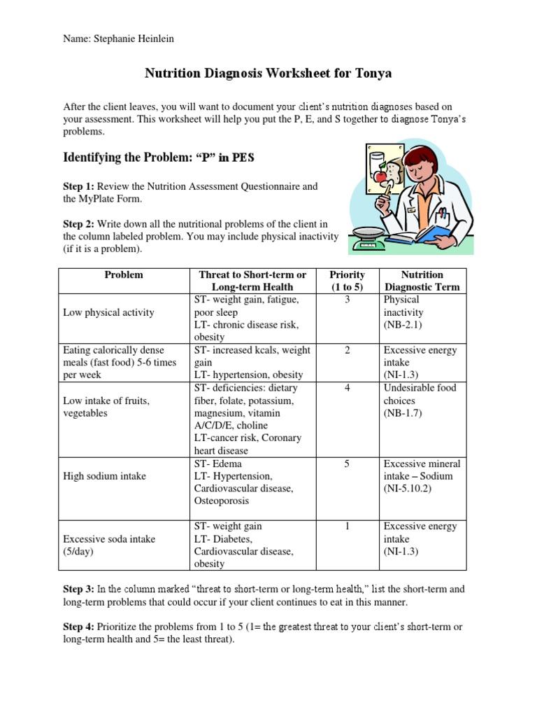 Worksheets Nutrition Worksheet case study nutrition diagnosis worksheet cardiovascular diseases