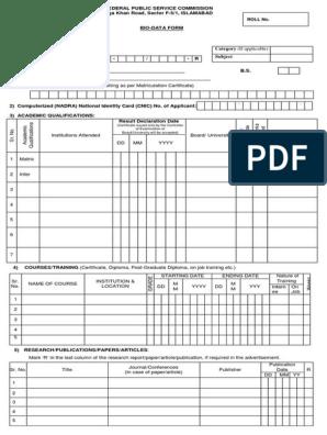 Biodata Form pdf | Identity Document | Labour