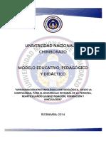 _modelo Educativo y Pedagogico de La Una Chimborazo 2014