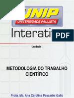 Metodologia Do Trabalho Científico_Unidade I - Slides