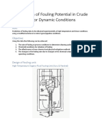 Calculation of Fouling Potential in Crude Oil for Dynamic Conditions