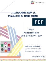 Orientaciones Para La Evaluacion. Etapa Escuela. 2016-2017