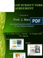 Subject Verb Agreement Presentation by Prof. J. Manglib
