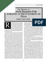 History of Strength Training at U of Texas