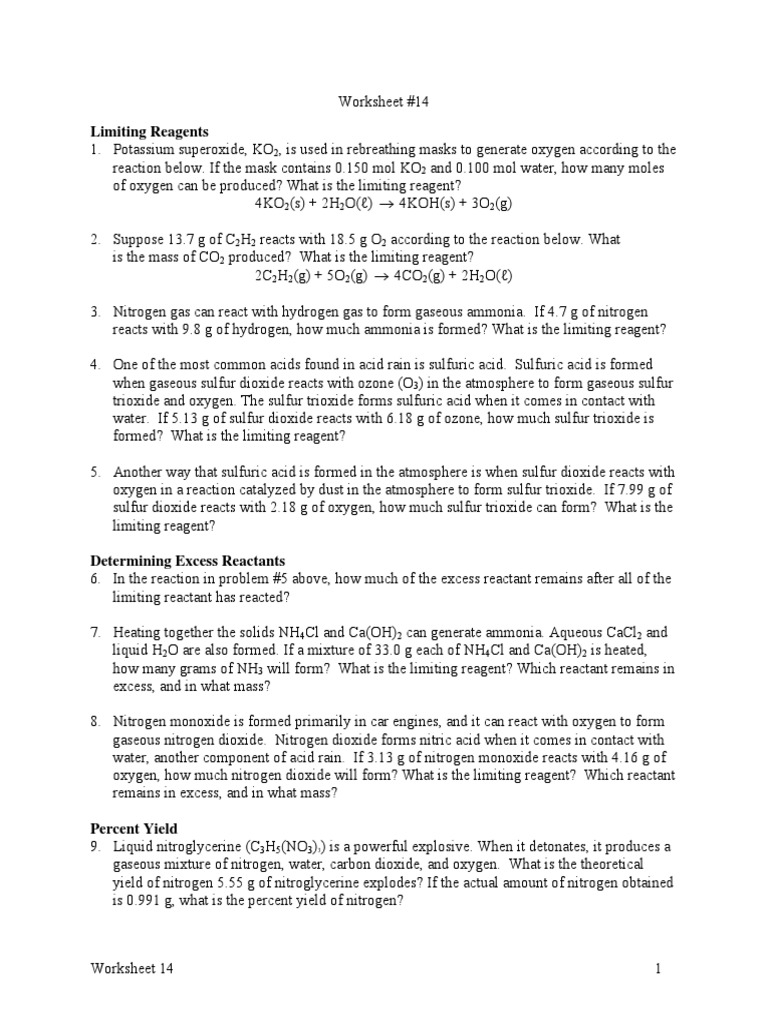 Limiting Reagents Percent Yield Worksheet | Stoichiometry | Nitrogen