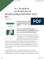 « Démoulages ». Du carcan de l'enseignement du droit vers une éducation juridique | Ruth Sefton-Green (dir.) – Droit & Société