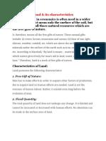 Land & Its Characteristics