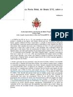 Carta Apostólica Porta Fidei - Ano Da Fé