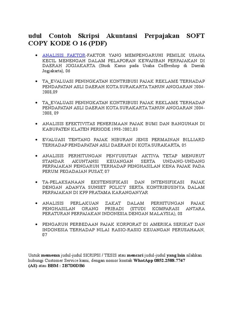 Judul Contoh Skripsi Akuntansi Perpajakan Soft Copy
