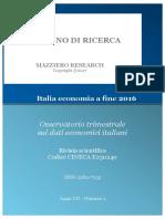 Italia Economia a Fine 2016