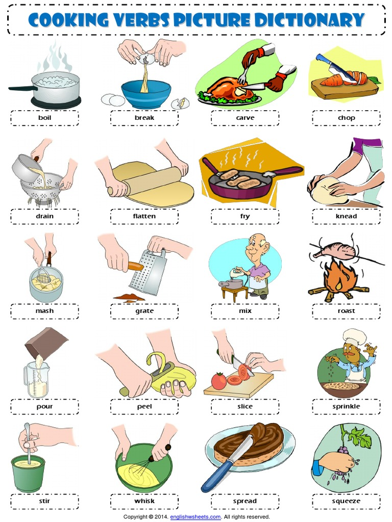 Cooking Verbs Esl Picture Dictionary Worksheet