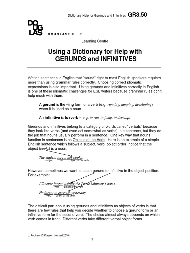Using A Dictionary For Help With Gerunds And Infinitives Verb