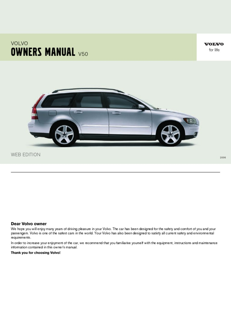 volvo v50 owners manual 2006 airbag seat belt