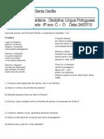162980598 Prova Lingua Portuguesa 6º Ano