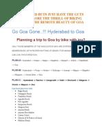 Goa Trip Plan