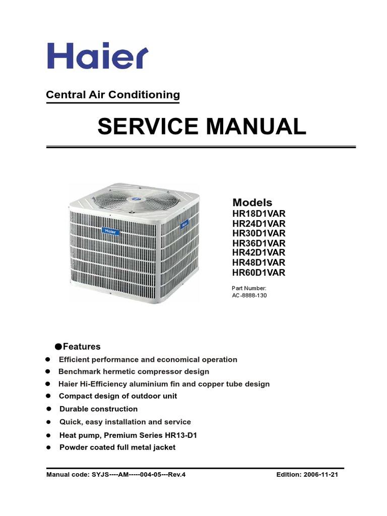 haier-hr18d1var | Air Conditioning | Gas Compressor on