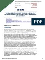 Sistema de Análisis de Peligros y de Puntos Críticos de Control (Haccp) y Directrices Para Su Aplicación