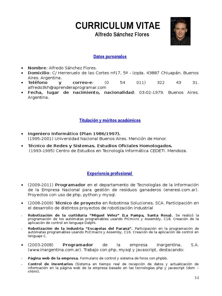 Encantador Curriculum Vitae Plantilla Tipo Doc Molde - Ejemplo De ...