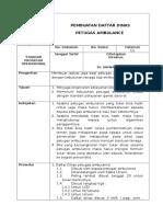 SPO Daftar Jaga Petugas Ambulance